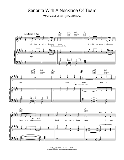 Senorita With A Necklace Of Tears Sheet Music