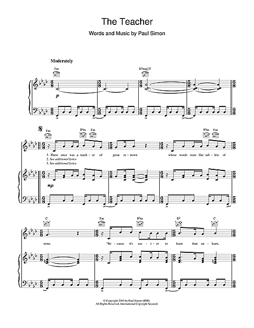 The Teacher Sheet Music
