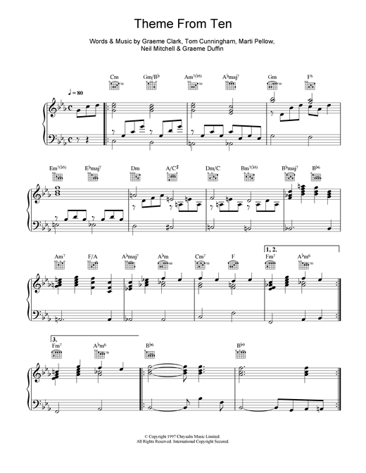 Partition piano Theme From Ten de Wet Wet Wet - Piano Voix Guitare (Mélodie Main Droite)