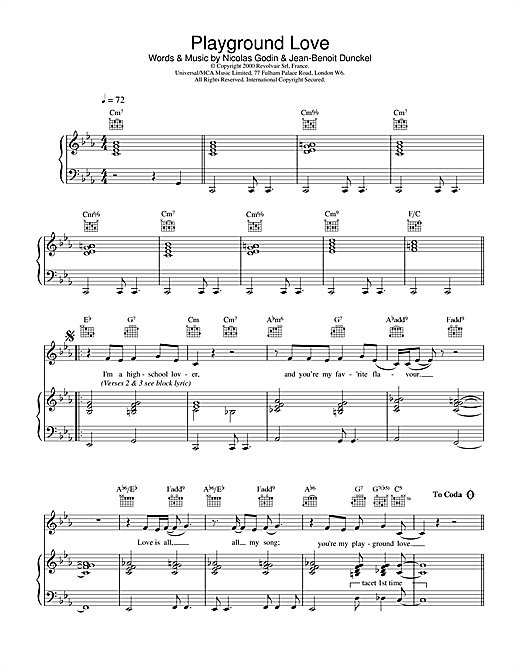 Playground Love (from The Virgin Suicides) Sheet Music