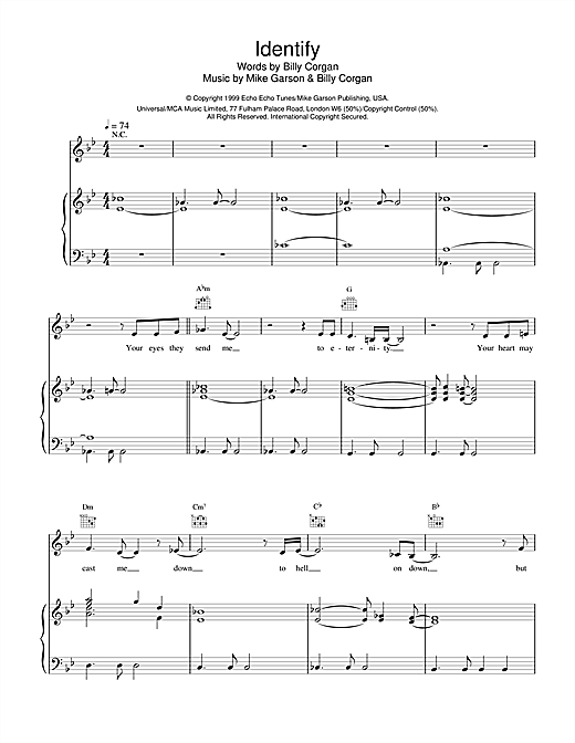 Partition piano Identify (from Stigmata) de Natalie Imbruglia - Piano Voix Guitare