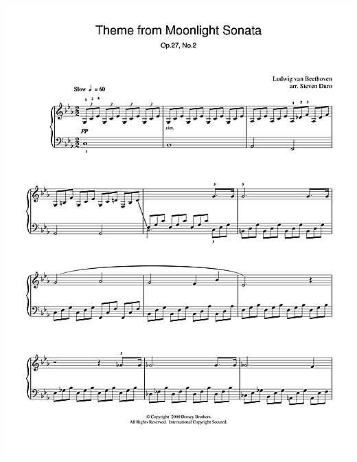 Partition piano Moonlight Sonata, 1st Movement, Op.27, No.2 de Ludwig van Beethoven - Piano Solo