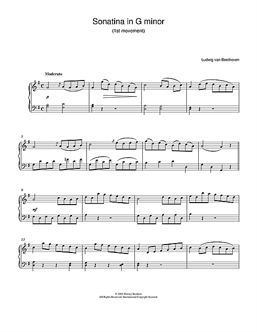 Sonatina In G 1st Movement Sheet Music