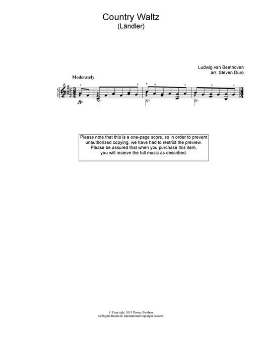 Country Waltz (Ländler ) Sheet Music