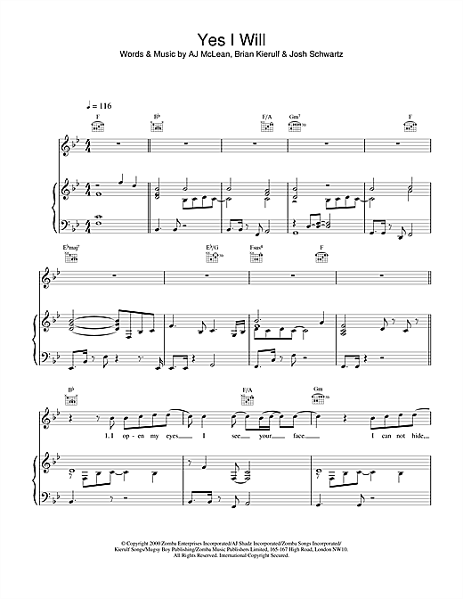 Yes I Will (Piano, Vocal & Guitar)