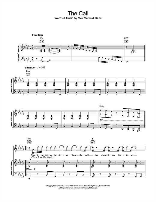 Partition piano The Call de Backstreet Boys - Piano Voix Guitare