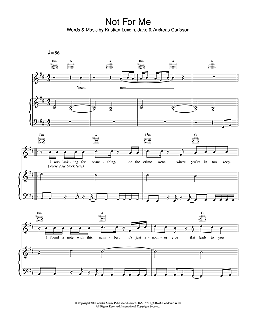 Not For Me Sheet Music