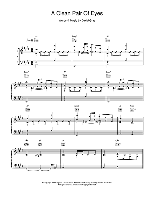 A Clean Pair Of Eyes Sheet Music
