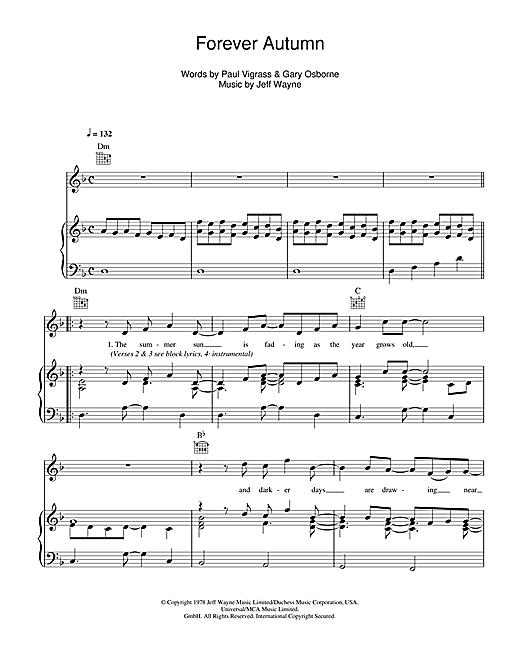 Forever Autumn (from War Of The Worlds) Sheet Music
