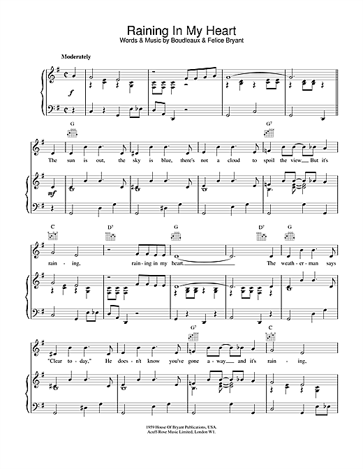Raining In My Heart Sheet Music