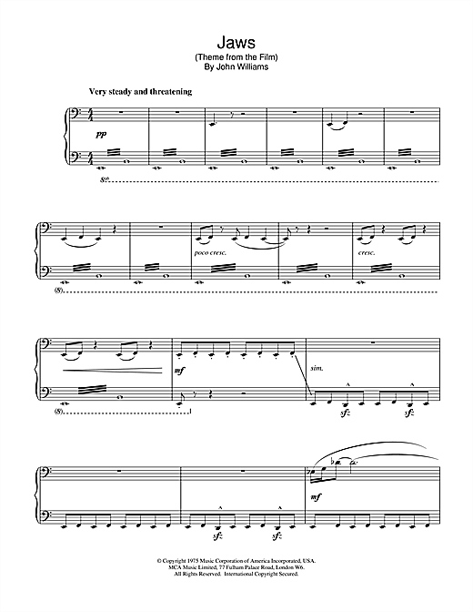 Partition piano Jaws (Theme from the Film) de John Williams - Piano Solo