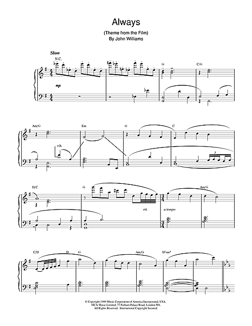 Partition piano Always de John Williams - Piano Solo