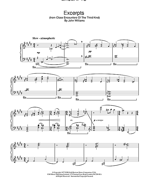 Excerpts (from Close Encounters Of The Third Kind) (Piano Solo)