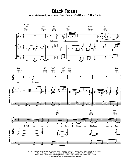 Black Roses (Piano, Vocal & Guitar (Right-Hand Melody))