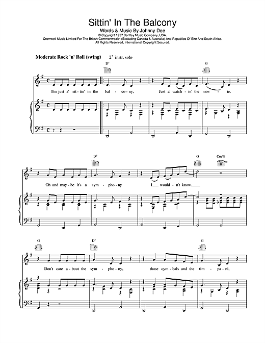 Sittin' In The Balcony Sheet Music