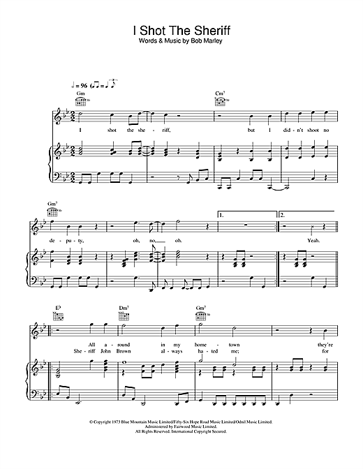 I Shot The Sherrif Sheet Music