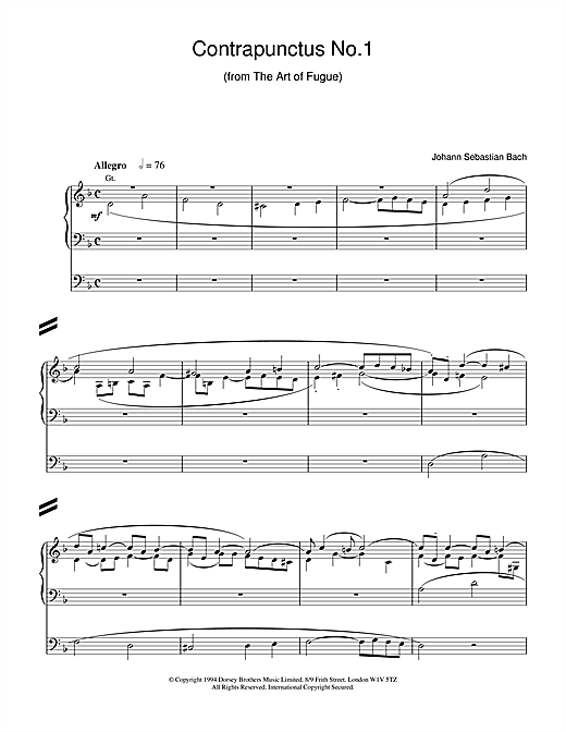 Partition saxophone Contrapunctus No.1 from The Art of Fugue de Johann Sebastian Bach - Orgue