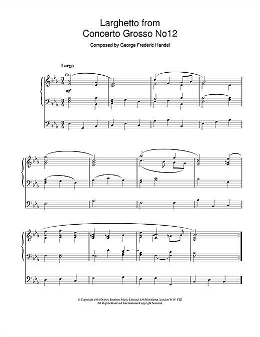 Larghetto from Concerto Grosso No.12 Sheet Music