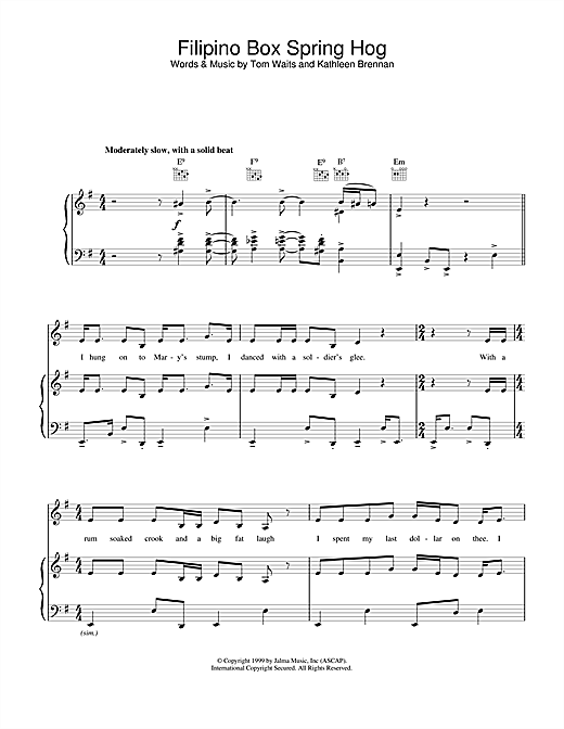 Filipino Box Spring Hog Sheet Music