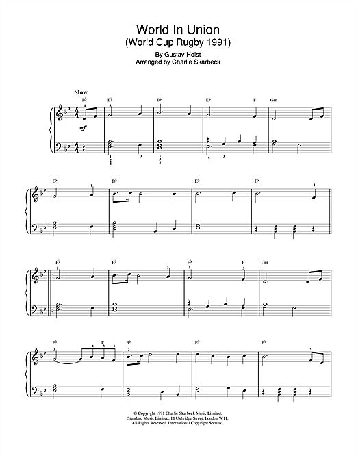 World In Union Sheet Music