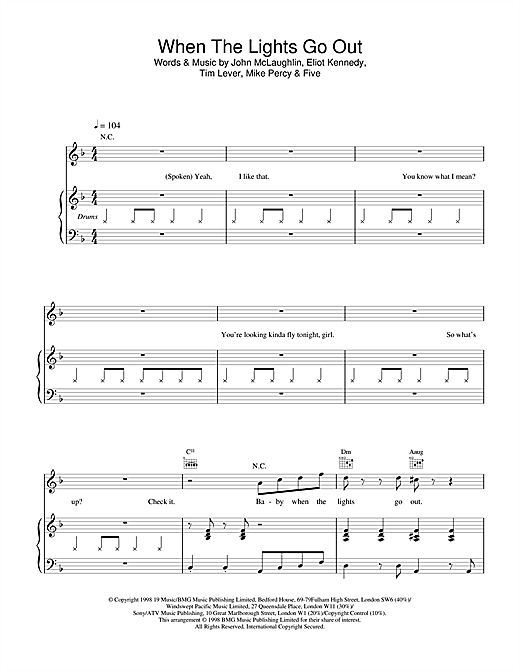 When The Lights Go Out Sheet Music