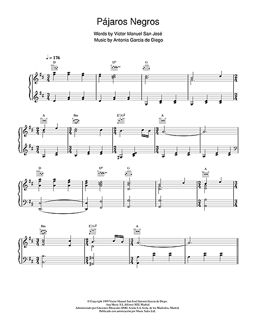Pájaros Negros Sheet Music