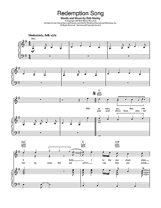 Redemption Song sheet music by Bob Marley (Piano, Vocal u0026 Guitar (Right-Hand Melody) u2013 18609)