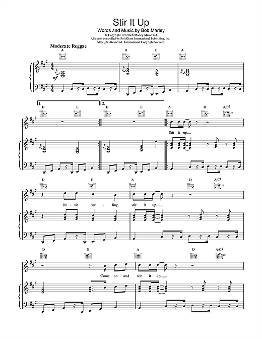 Stir It Up Sheet Music By Bob Marley Piano Vocal Guitar Right