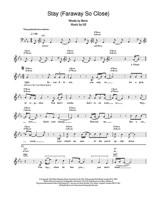 Stay Faraway So Close Chords By U2 Melody Line Lyrics Chords