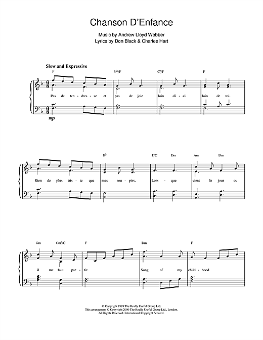 Chanson D'Enfance (from Aspects Of Love) Sheet Music