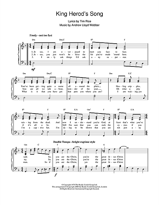King Herod's Song (from Jesus Christ Superstar) Sheet Music