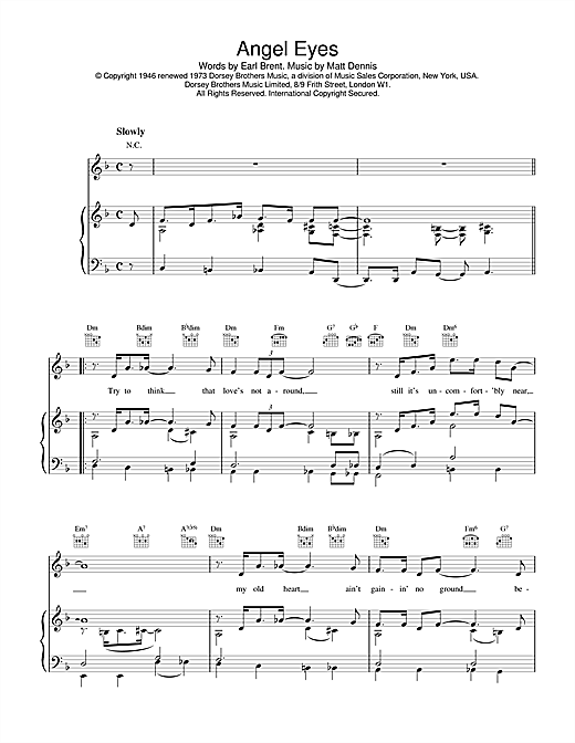 Partition piano Angel Eyes de Earl Brent & Matt Dennis - Piano Solo