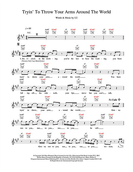 Tryin' To Throw Your Arms Around The World Sheet Music