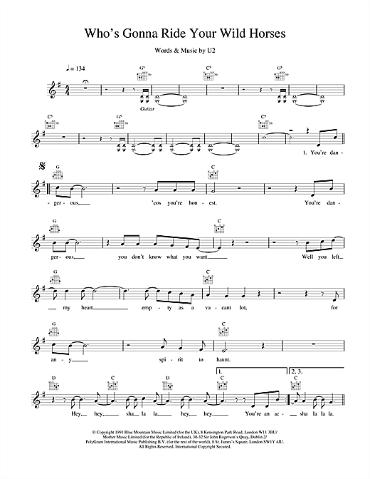 Who's Gonna Ride Your Wild Horses (Lead Sheet / Fake Book)