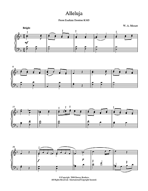 Alleluja From Exultate Domino Sheet Music