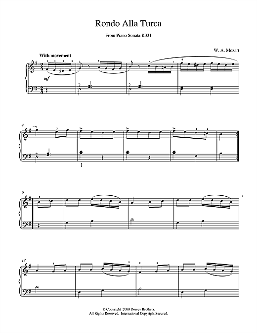 Rondo Alla Turca, from the Piano Sonata A Major, K331 Sheet Music