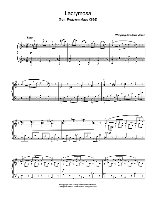 Partition piano Lacrymosa from Requiem Mass de Wolfgang Amadeus Mozart - Piano Solo