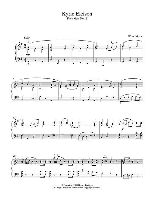 Partition piano Kyrie Eleison From Mass No.12 de Wolfgang Amadeus Mozart - Piano Solo