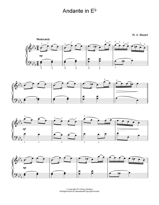Andante in E Flat Sheet Music