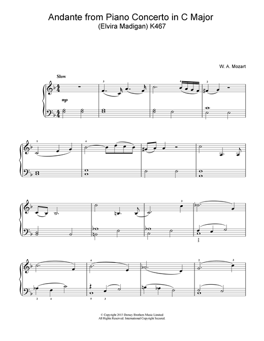 Andante from Piano Concerto in C Major (Elvira Madigan) K467 Sheet Music