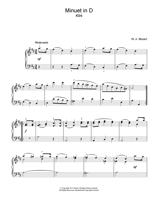 Minuet in D K94 Sheet Music
