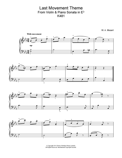 Last Movement Theme from Violin & Piano Sonata in Eb, K481 Sheet Music