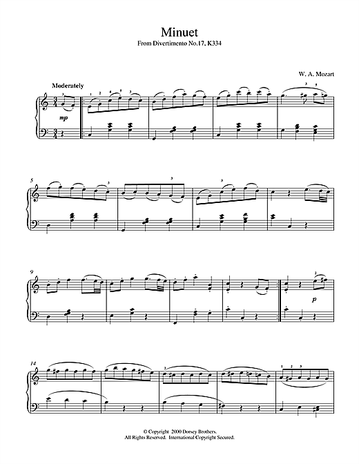 Partition piano Minuet from Divertimento No.17, K334 de Wolfgang Amadeus Mozart - Piano Solo