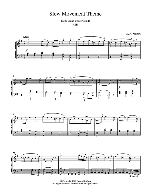 Slow Movement Theme from Violin Concerto in D Sheet Music