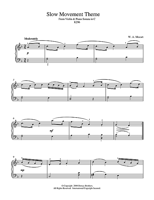Slow Movement Theme from Violin & Piano Sonata in C, K296 Sheet Music