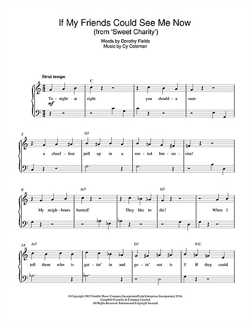 If My Friends Could See Me Now (from Sweet Charity) Sheet Music