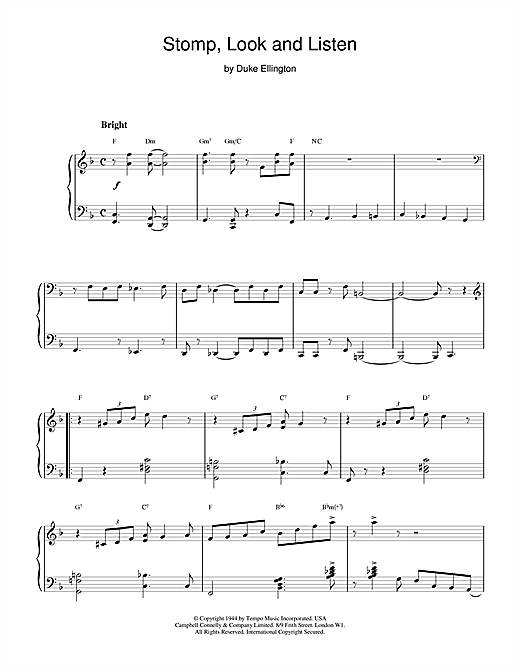Stomp, Look and Listen (Piano Solo)