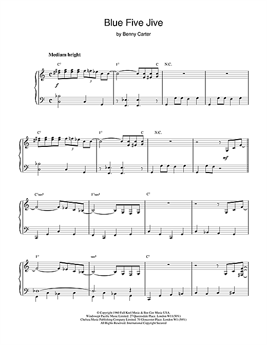 Blue Five Jive Sheet Music
