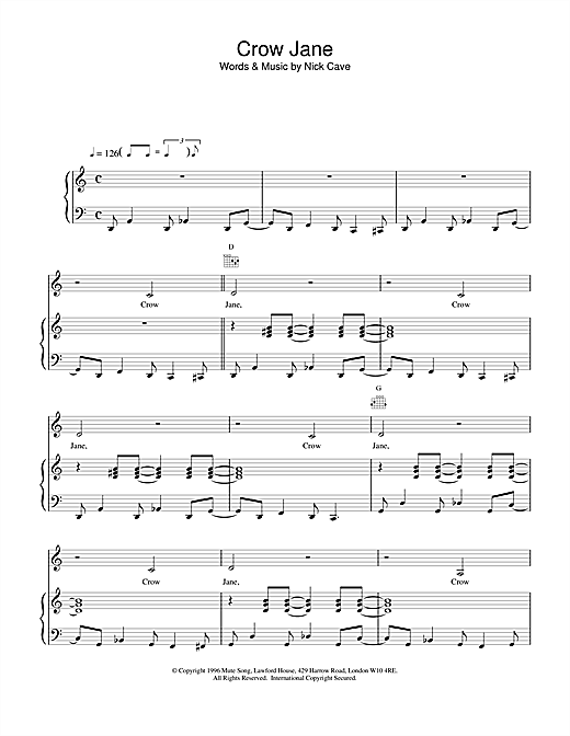 Crow Jane Sheet Music