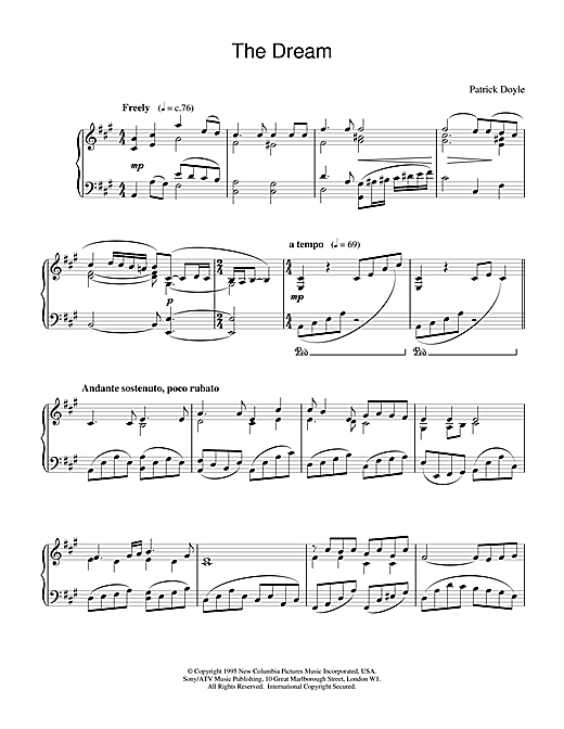 The Dreame (from Sense And Sensibility) (Piano Solo)